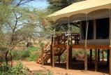 Elephant bedroom camp -tent exterior view, Samburu, Kenya
