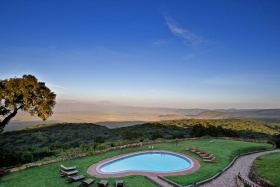 Ngorongoro Sopa Lodge, view of the crater over pool