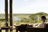 Relaxing at lake masek tented camp