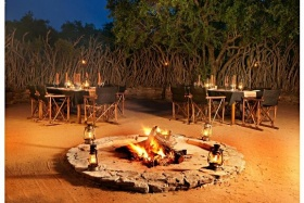 Traditional African-style safari boma, Impodimo Game Lodge