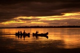 Canoe sunset lower zambezi
