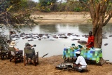 Mwaleshi - bush breakfast by a pod of hippo