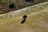 Aerial sign camp okavango