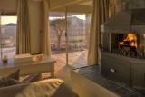 Warming winter fire, sossusvlei desert lodge
