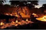 Safari-style boma bonfire dinner, Tau Game Lodge