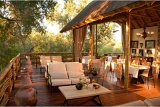 Safari-style dining room and lounge, Thakadu River Camp