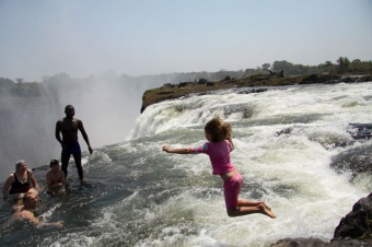 Girl jumps into Devil's Pool