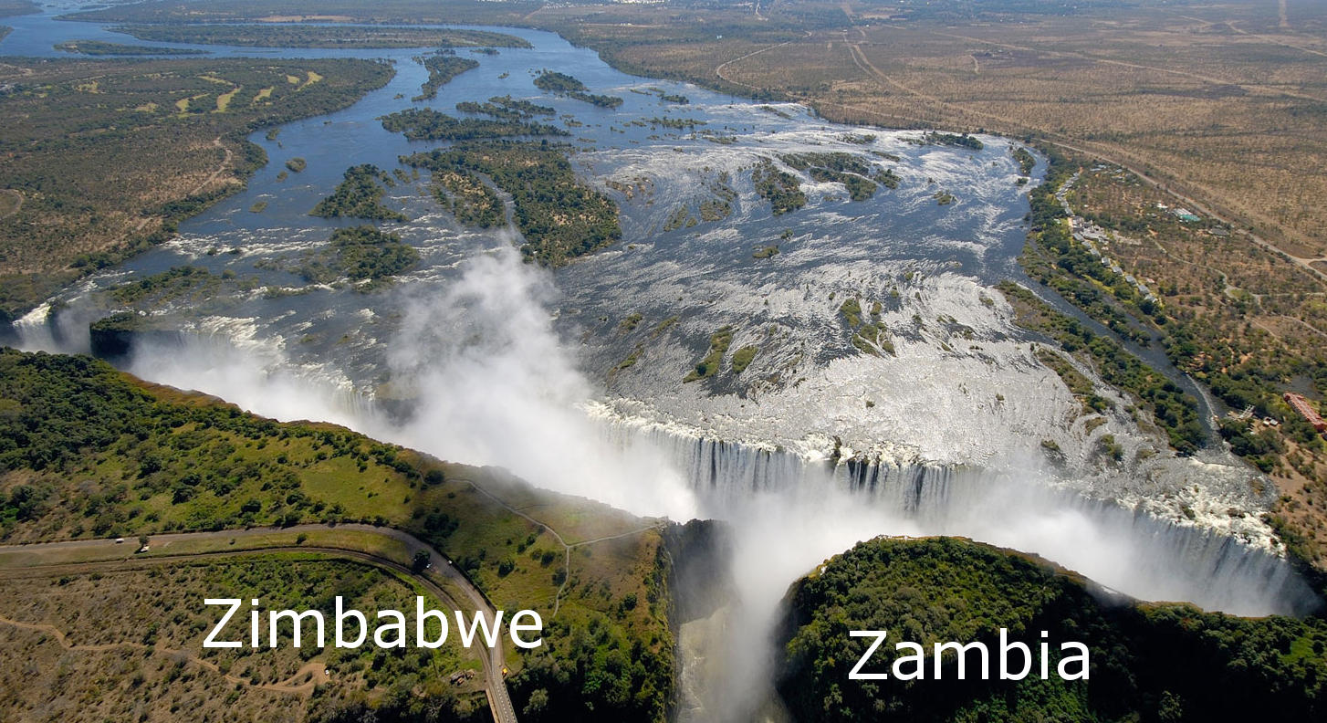 Vic falls aerial zimbabwe zambia by Victoria Falls aerial view