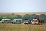 Safari vehicles at maasai mara, Kenya