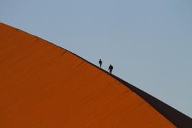 Walking atop Sossusvlei Dunes, Namibia